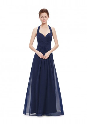 Langes Abendkleid mit Neckholder Navy Blau - günstig bestellen bei VIP Dress
