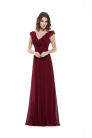 Langes Chiffon Abendkleid in Bordeaux Rot