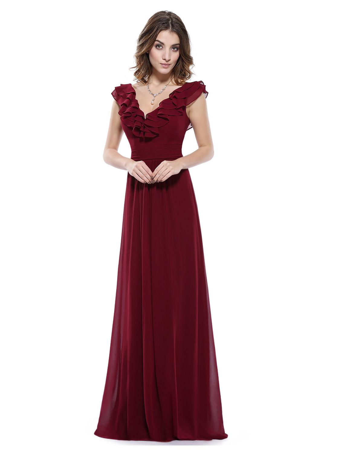 Langes Chiffon Abendkleid in Bordeaux Rot