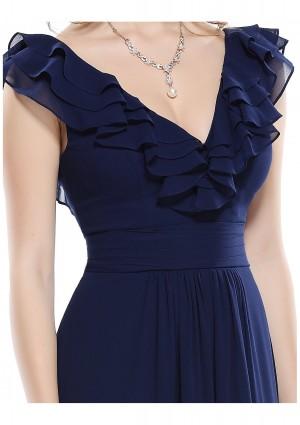 Langes Abendkleid für stilvolle Anlässe in Blau - bei VIP Dress online bestellen