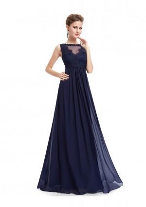 Langes Abendkleid mit Spitze in Blau - bei VIP Dress online bestellen