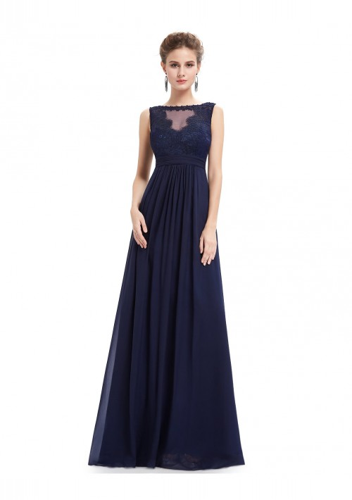 Langes Abendkleid mit Spitze in Blau - online bestellen bei vipdress.de