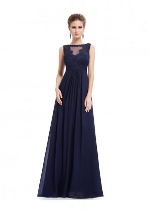 Langes Abendkleid mit Spitze in Blau -