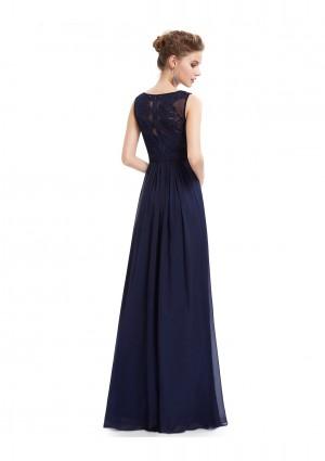 Langes Abendkleid mit Spitze in Blau - bei vipdress.de günstig shoppen