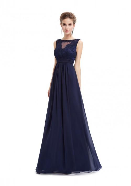 Langes Abendkleid mit Spitze in Blau - hier günstig online bestellen