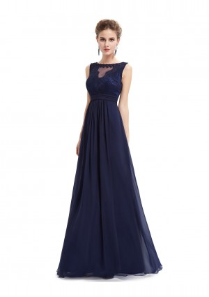 Langes Abendkleid mit Spitze in Blau - bei VIP Dress günstig kaufen