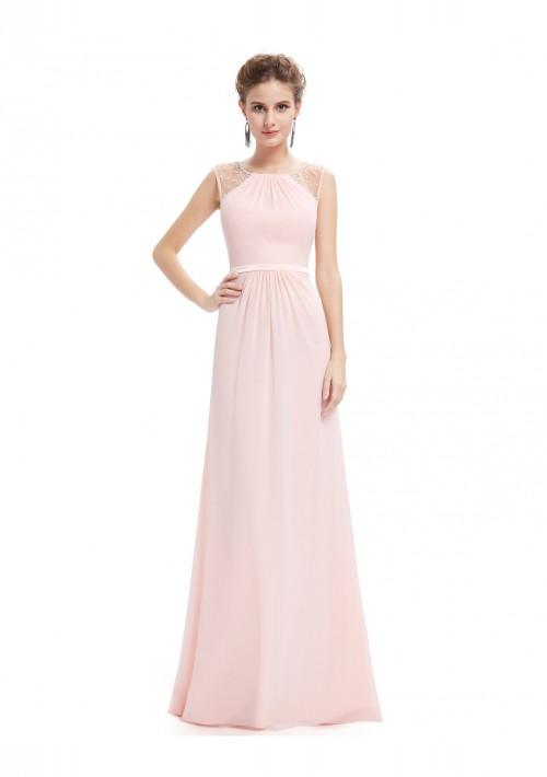 Langes, ärmelloses Abendkleid in romantischen Rosa - günstig shoppen bei vipdress.de