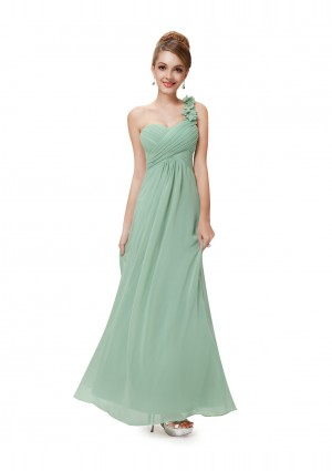 One Shoulder Abendkleid in Mintgrün -