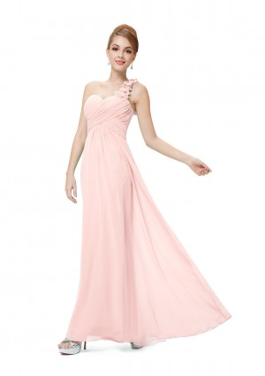 Langes One-Shoulder Chiffon Ballkleid in Rosa -