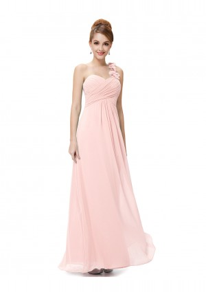 Langes One-Shoulder Chiffon Ballkleid in Rosa - bei vipdress.de günstig shoppen