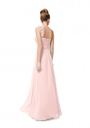 Langes One-Shoulder Chiffon Ballkleid in Rosa - bei VIP Dress günstig kaufen