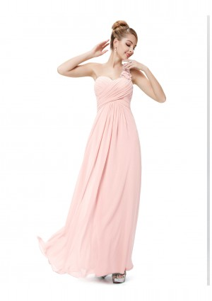 Langes One-Shoulder Chiffon Ballkleid in Rosa - günstig kaufen bei vipdress.de