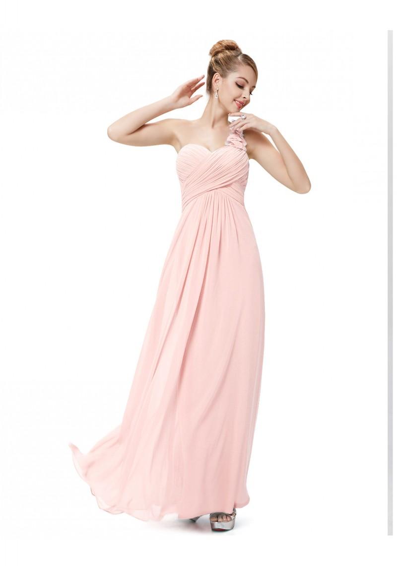 langes one shoulder chiffon ballkleid in rosa. Black Bedroom Furniture Sets. Home Design Ideas