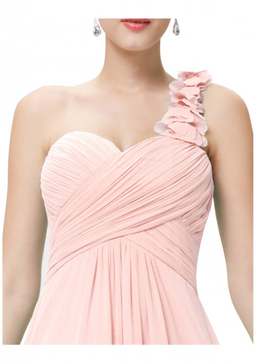 Langes One-Shoulder Chiffon Ballkleid in Rosa - günstig shoppen bei vipdress.de