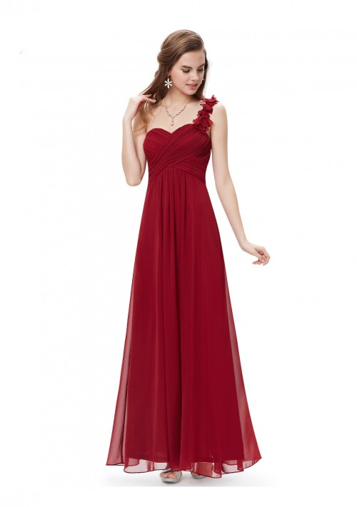 Langes One-Shoulder Abendkleid Rot - bei VIP Dress günstig kaufen
