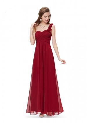 Langes One-Shoulder Abendkleid Rot -