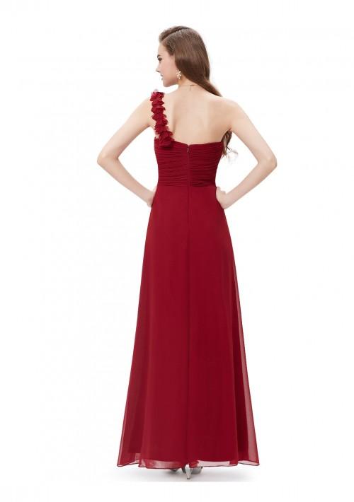 Langes One-Shoulder Abendkleid Rot - bei vipdress.de günstig shoppen
