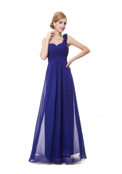 Luxeriöses langes One-Shoulder Abendkleid in Blau - schnell und günstig bei VIP Dress