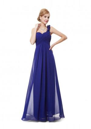 Luxeriöses langes One-Shoulder Abendkleid in Blau -