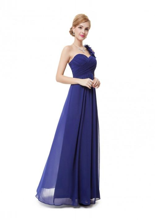 Luxeriöses langes One-Shoulder Abendkleid in Blau - bei VIP Dress online bestellen