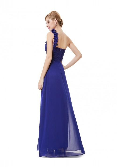 Luxeriöses langes One-Shoulder Abendkleid in Blau - günstig bei VIP Dress