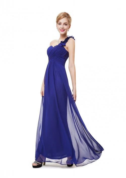 Luxeriöses langes One-Shoulder Abendkleid in Blau - bei VIP Dress günstig kaufen