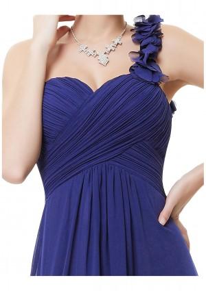 Luxeriöses langes One-Shoulder Abendkleid in Blau - günstig bestellen bei VIP Dress