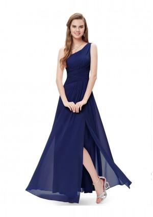 Langes Abendkleid im One-Shoulder-Stil Navy Blau - bei vipdress.de günstig shoppen