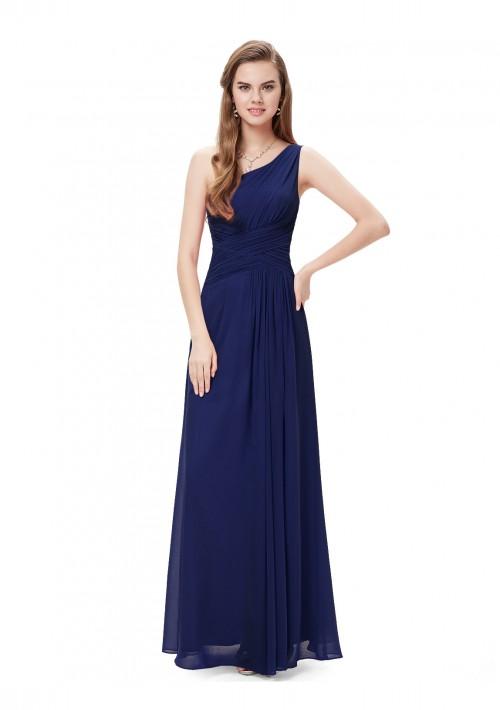Langes Abendkleid im One-Shoulder-Stil Navy Blau - günstig bestellen bei VIP Dress