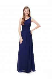 Langes Abendkleid im One-Shoulder-Stil Navy Blau
