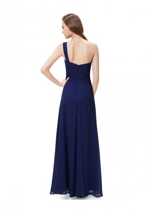 Langes Abendkleid im One-Shoulder-Stil Navy Blau - günstig kaufen bei vipdress.de