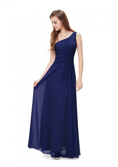 Langes Abendkleid im One-Shoulder-Stil Navy Blau - hier günstig online bestellen
