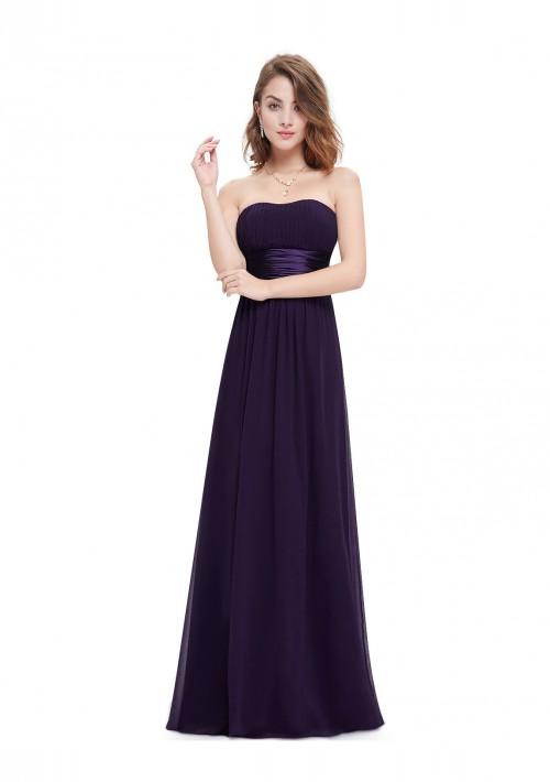 Bandeau Abendkleid aus Chiffon in Lila - hier günstig online bestellen