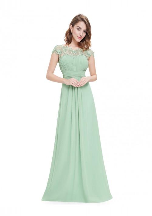 Chiffon Abendkleid lang mit Spitze in Mint Grün - hier günstig online bestellen