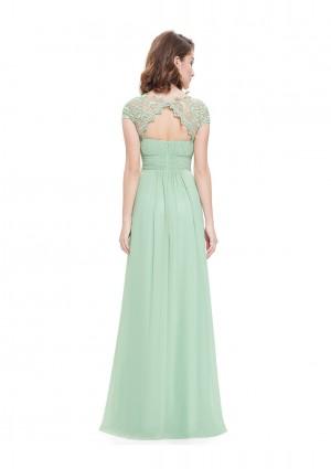 Chiffon Abendkleid lang mit Spitze in Mint Grün - schnell und günstig bei VIP Dress