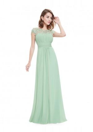 Chiffon Abendkleid lang mit Spitze in Mint Grün -