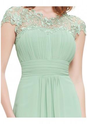Chiffon Abendkleid lang mit Spitze in Mint Grün - günstig bei VIP Dress