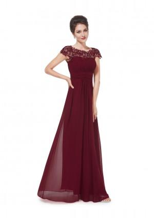 Edles langes Spitze Abendkleid in Bordeaux Rot -