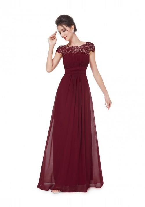 Edles langes Spitze Abendkleid in Bordeaux Rot - bei VIP Dress online bestellen