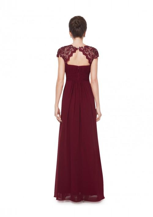 Edles langes Spitze Abendkleid in Bordeaux Rot - hier günstig online bestellen