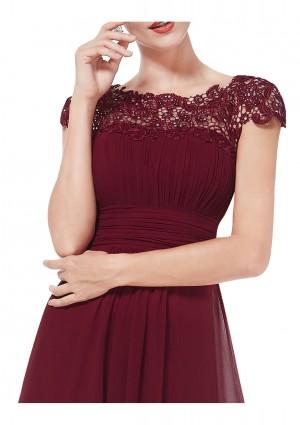 Edles langes Spitze Abendkleid in Bordeaux Rot - bei vipdress.de günstig shoppen