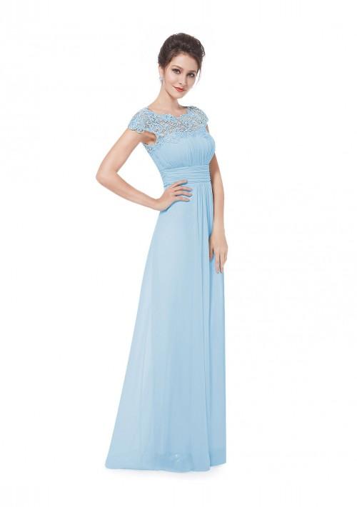 Traumhaftes langes Abendkleid mit edler Spitze in Hellblau - günstig bestellen bei VIP Dress