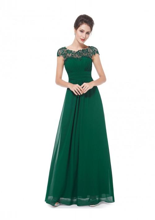 Langes Chiffon-Abendkleid mit Spitze in Grün - bei VIP Dress online bestellen