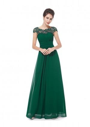 Langes Chiffon-Abendkleid mit Spitze in Grün -