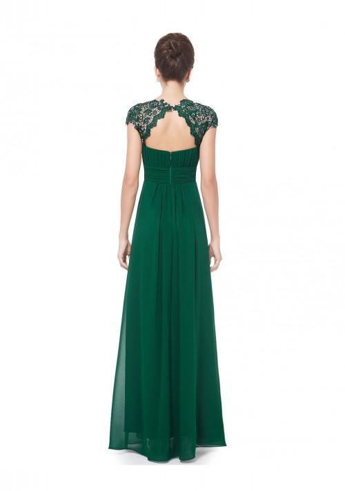 Langes Chiffon-Abendkleid mit Spitze in Grün - bei vipdress.de günstig shoppen