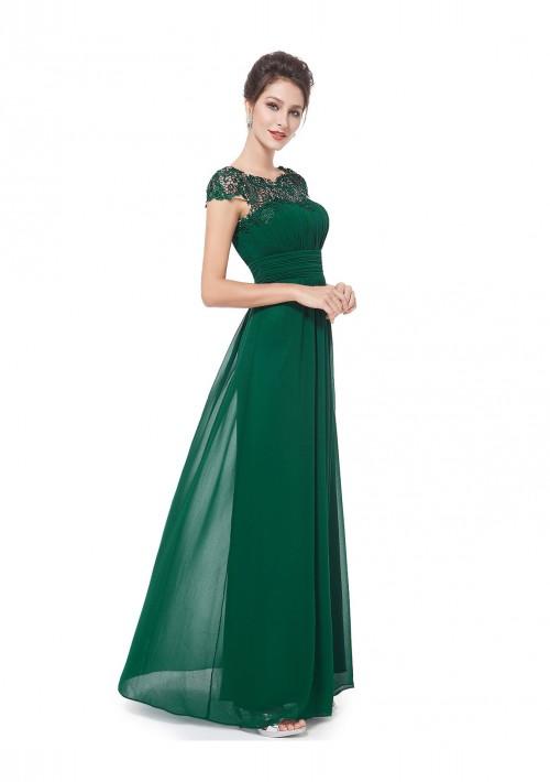 Langes Chiffon-Abendkleid mit Spitze in Grün - hier günstig online bestellen
