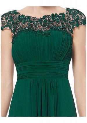 Langes Chiffon-Abendkleid mit Spitze in Grün - günstig bei VIP Dress