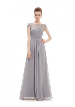 Elegantes langes Chiffon Abendkleid in Grau -