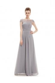 Elegantes langes Chiffon Abendkleid in Grau