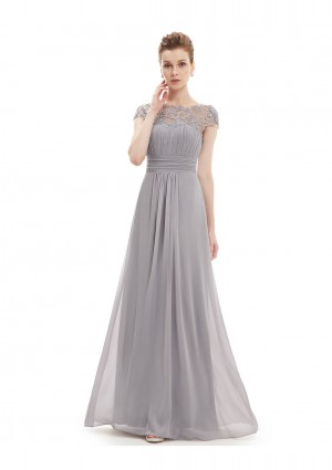 Elegantes langes Chiffon Abendkleid in Grau - online bestellen bei vipdress.de